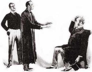 Paget illustratrion of Watson, Holmes, and Holder